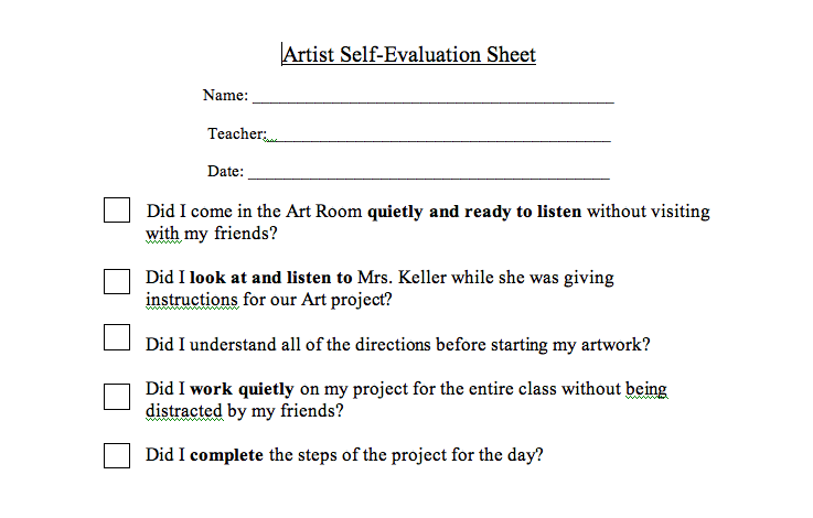 Splish Splash Splatter  Great Student SelfEvaluation Sheet For