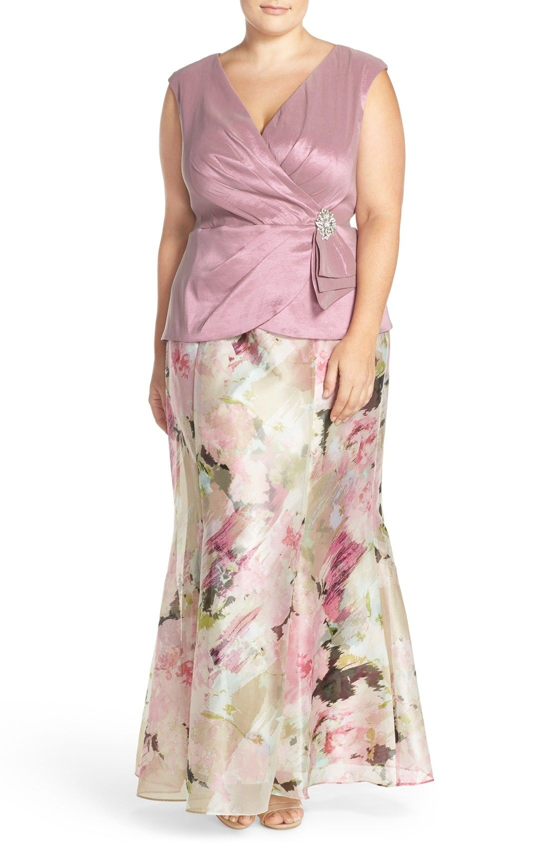 Alex Evenings Embellished Mock Two Piece Floral Gown Plus Size