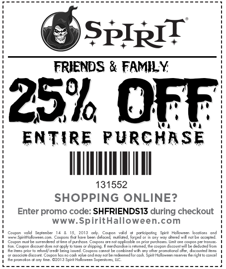 Spirit Halloween Coupons 2020 Printable Pinned September 15th: 25% off everything at Spirit #Halloween, or