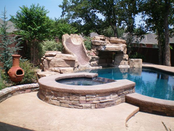 gunite pool with hot tub design built in hot tub built in spa pool design pool pros the. Black Bedroom Furniture Sets. Home Design Ideas