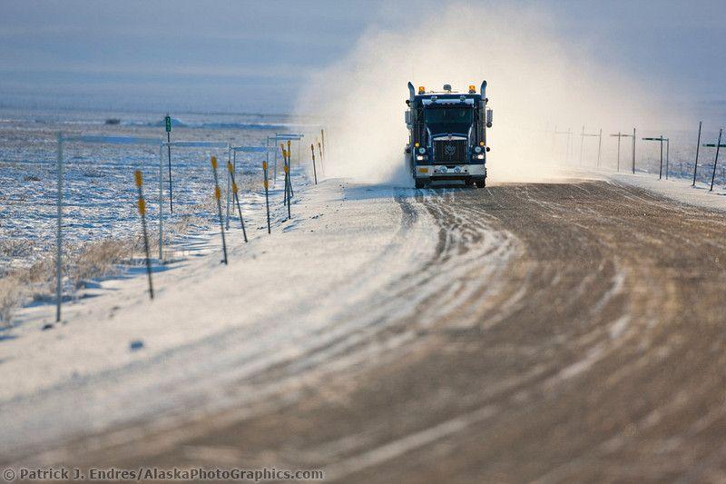 Semi Tractor Trailer On The Haul Road Alaskaphotographics Com Tractor Trailers Cool Photos Travel Trailer