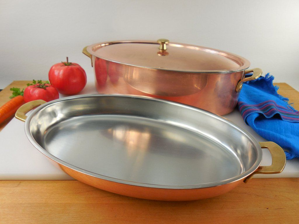Spring Culinox Switzerland Copper Br Stainless Cookware Oval Au Gratin Pan Roasting Pot