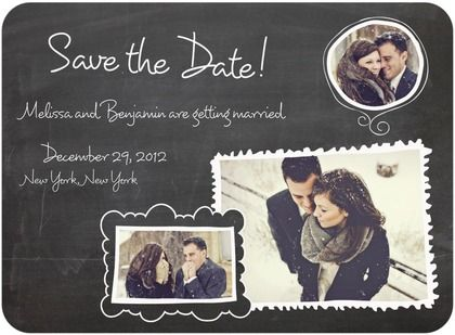 signature white photo save the date cards chalk frame charm front
