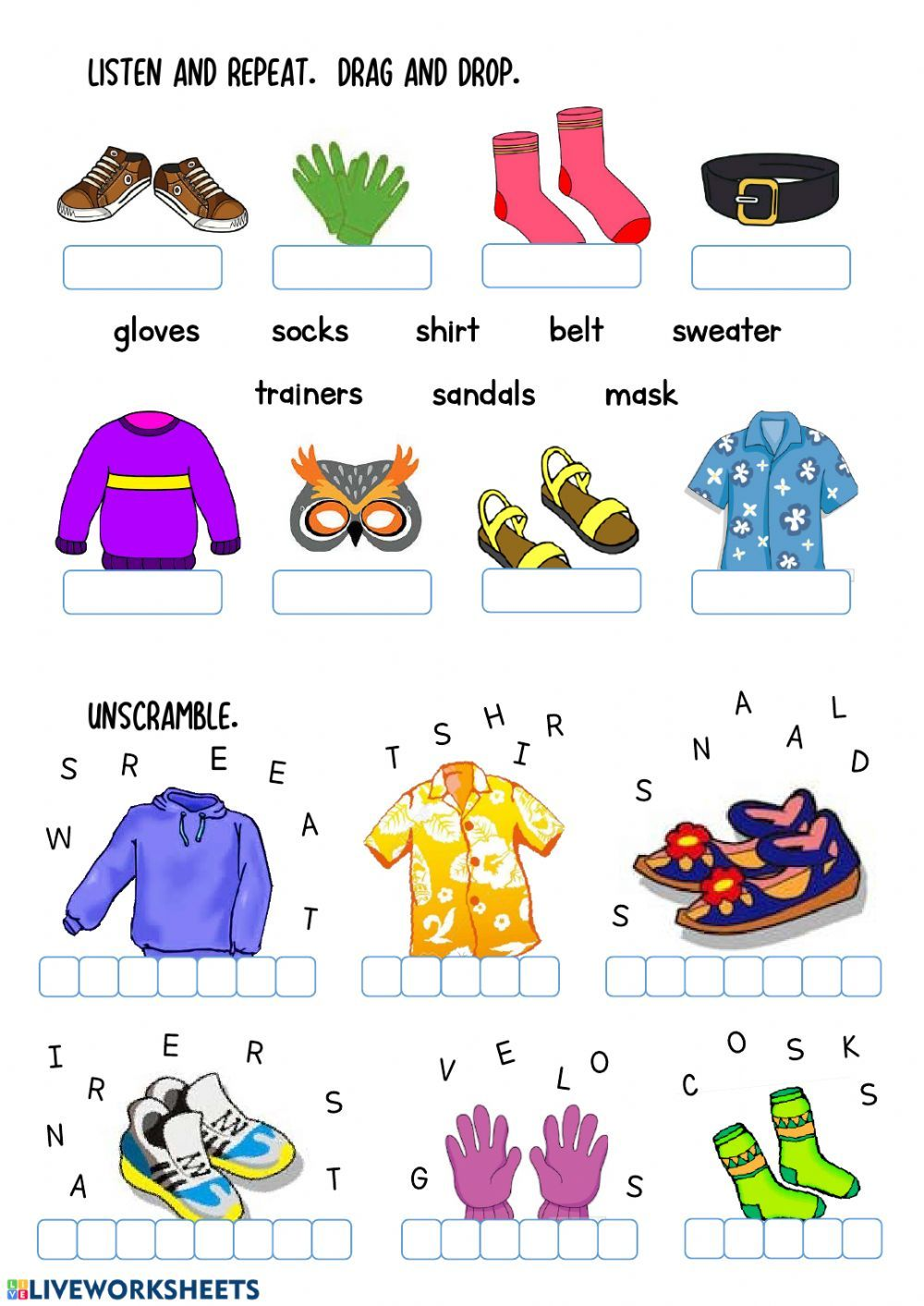 Clothes Interactive worksheet by nievesc Fichas