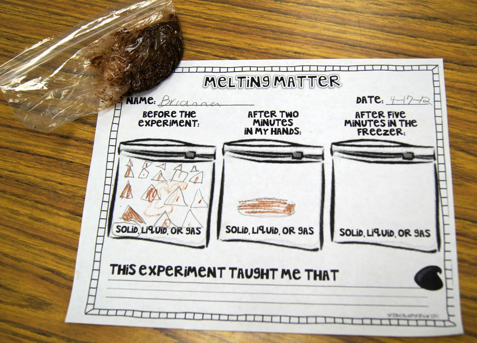worksheet First Grade Matter Worksheets melting matter changing states of with chocolate kiddos once upon a first grade adventure freebie science experiment