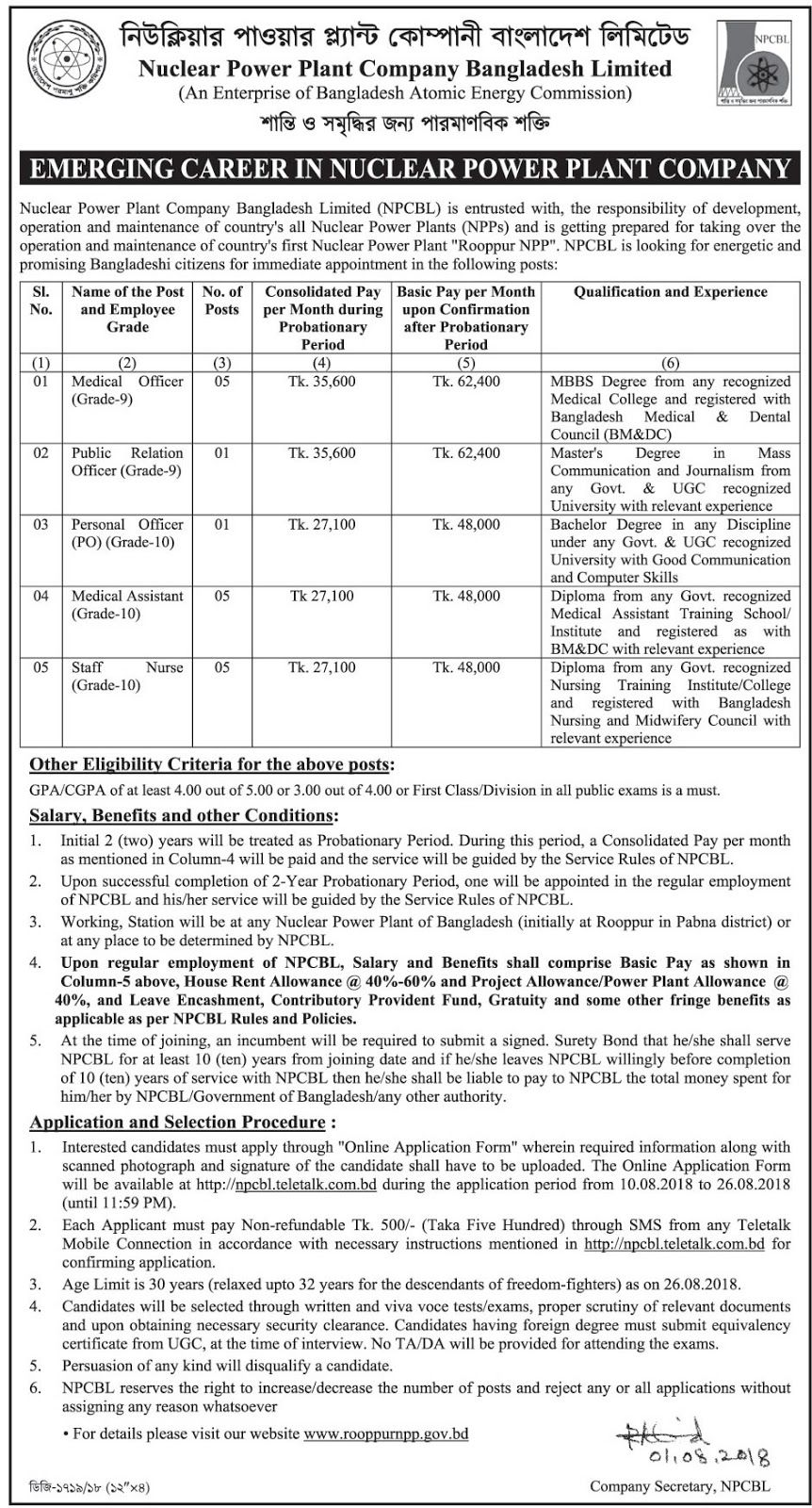 Nuclear Power Plant Company Bangladesh (NPCBL) Job Circular