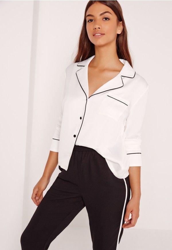71c60d3636e3a4 Pyjama Blouse White - Missguided