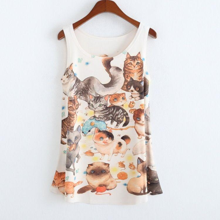 2015 mulheres dos desenhos animados 3d impressão vest gym mouse / Totoro em torno do pescoço T Shirt sem mangas tanque para o verão Chiffon t Tops Stripes meninas em Regatas de Roupas e Acessórios Femininos no AliExpress.com | Alibaba Group