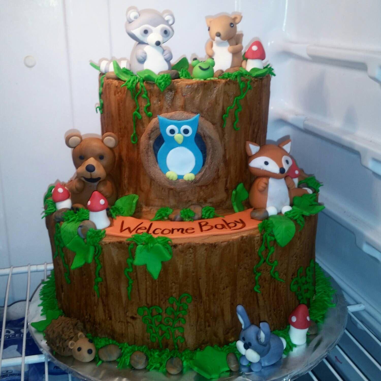 Handmade Fondant Woodland Animals Cake Topper Set by