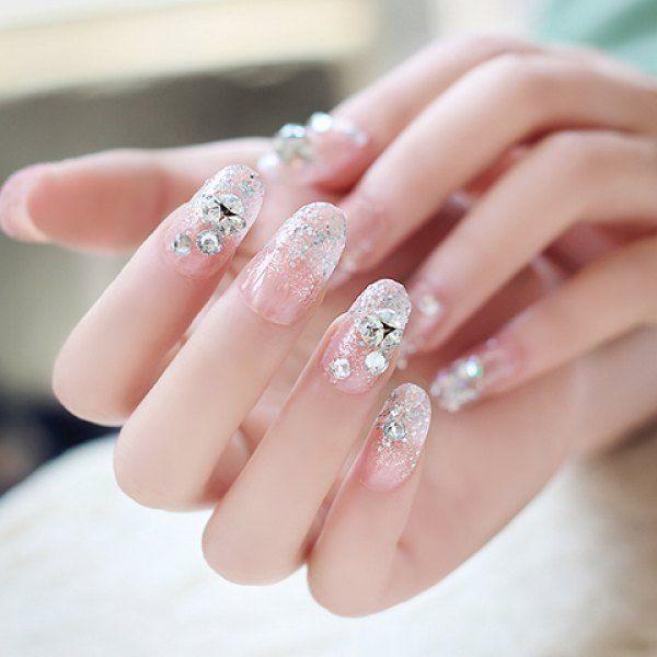 24 PCS Chic Glitter Powder And Rhinestone Embellished Light Pink Nail Art False Nails