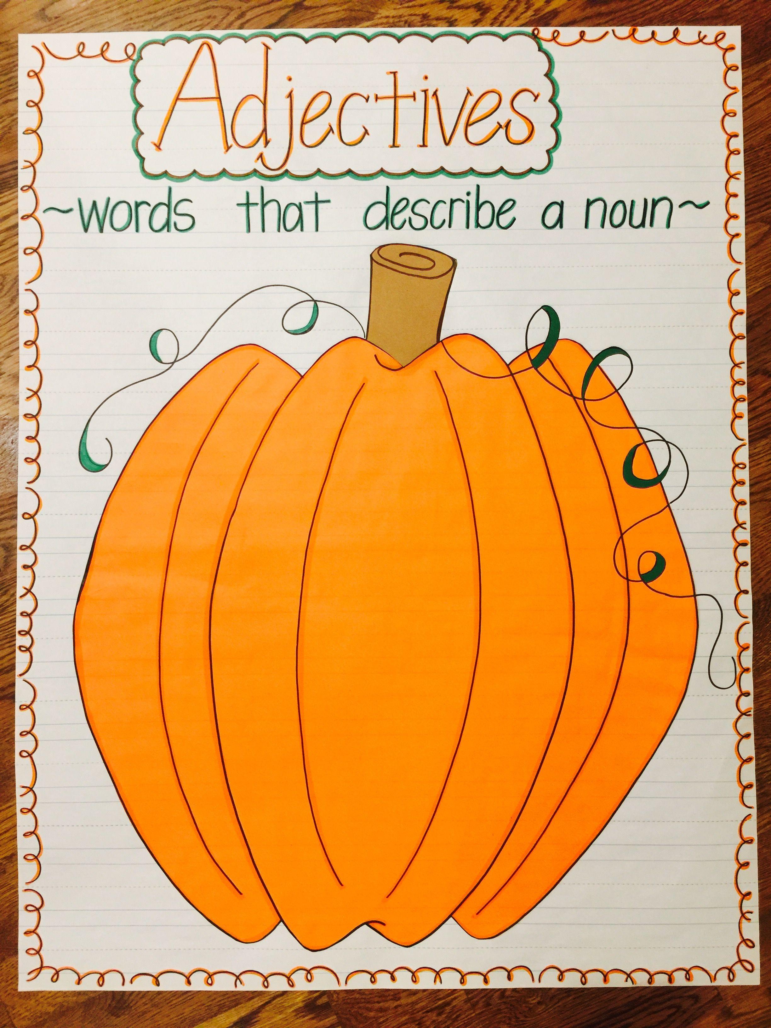 Adjectives For A Pumpkin Anchor Chart