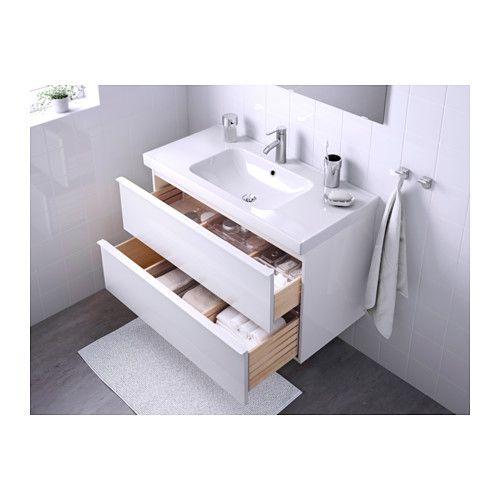 GODMORGON / ODENSVIK Skab til vask med 2 skuffer - højglans hvid - IKEA
