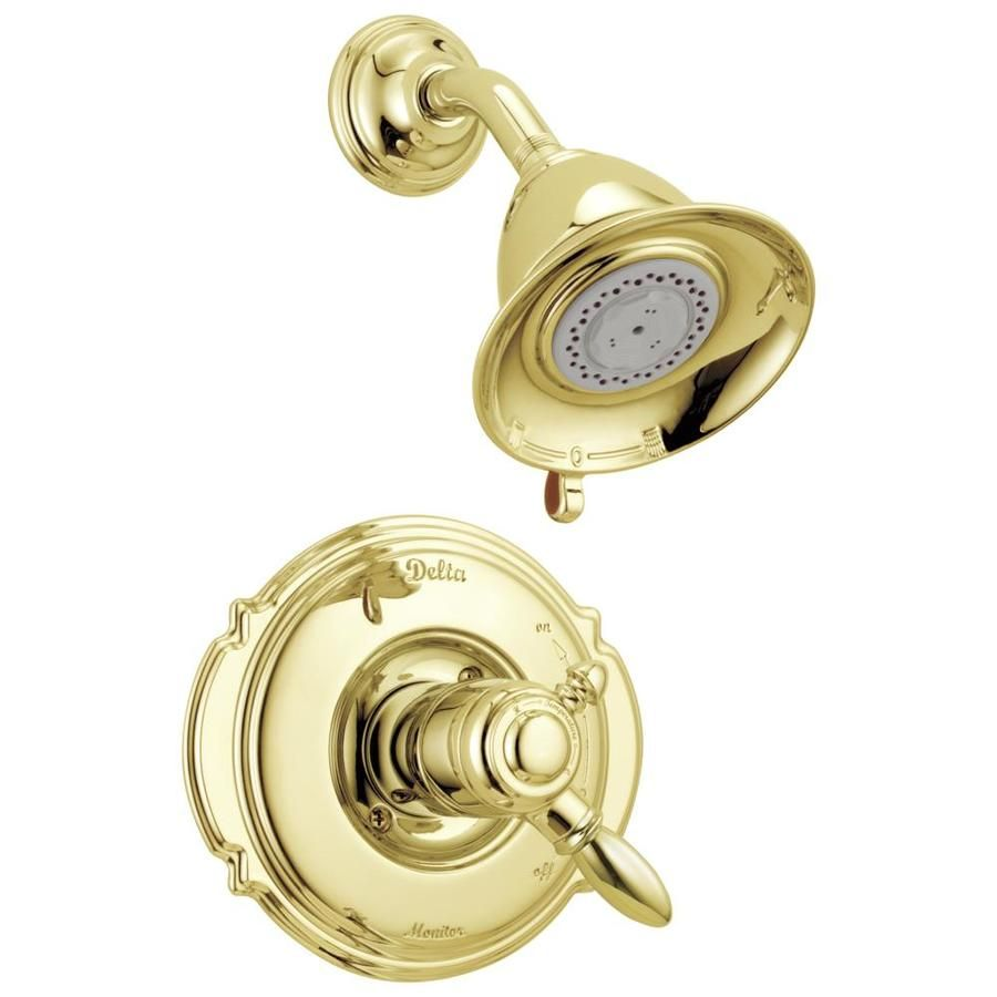 Delta Victorian Polished Brass 1 Handle Shower Faucet Valve Not Included Lowes Com Delta Faucets Polished Brass Brass Shower Delta polished brass bathroom faucets