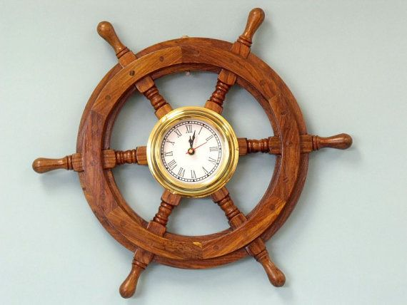 Wooden Ship Wheel Clock 18 Boat Steering Decor Nautical Decorations