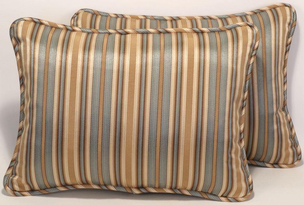 2 12 X 16 Seafoam Green Brown And Tan Stripe Handmade Decorative