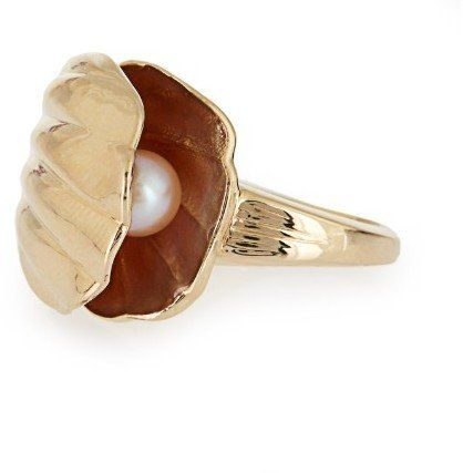 Alison Lou Pearl & Yellow-Gold Oyster Ring ($2,986)