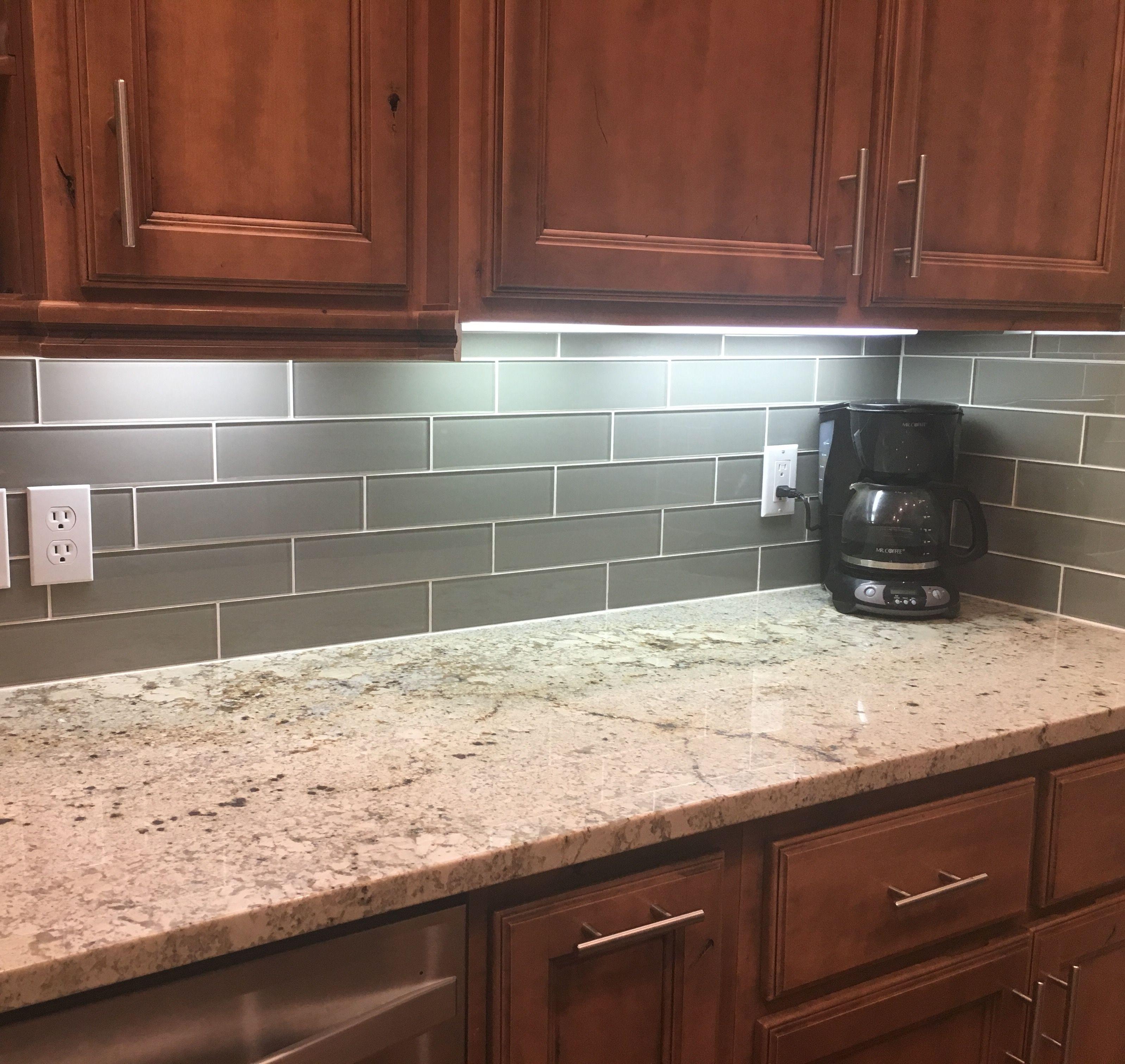 - The Glass Smoke Subway Tile Backsplash Is Finally Done! Kitchen