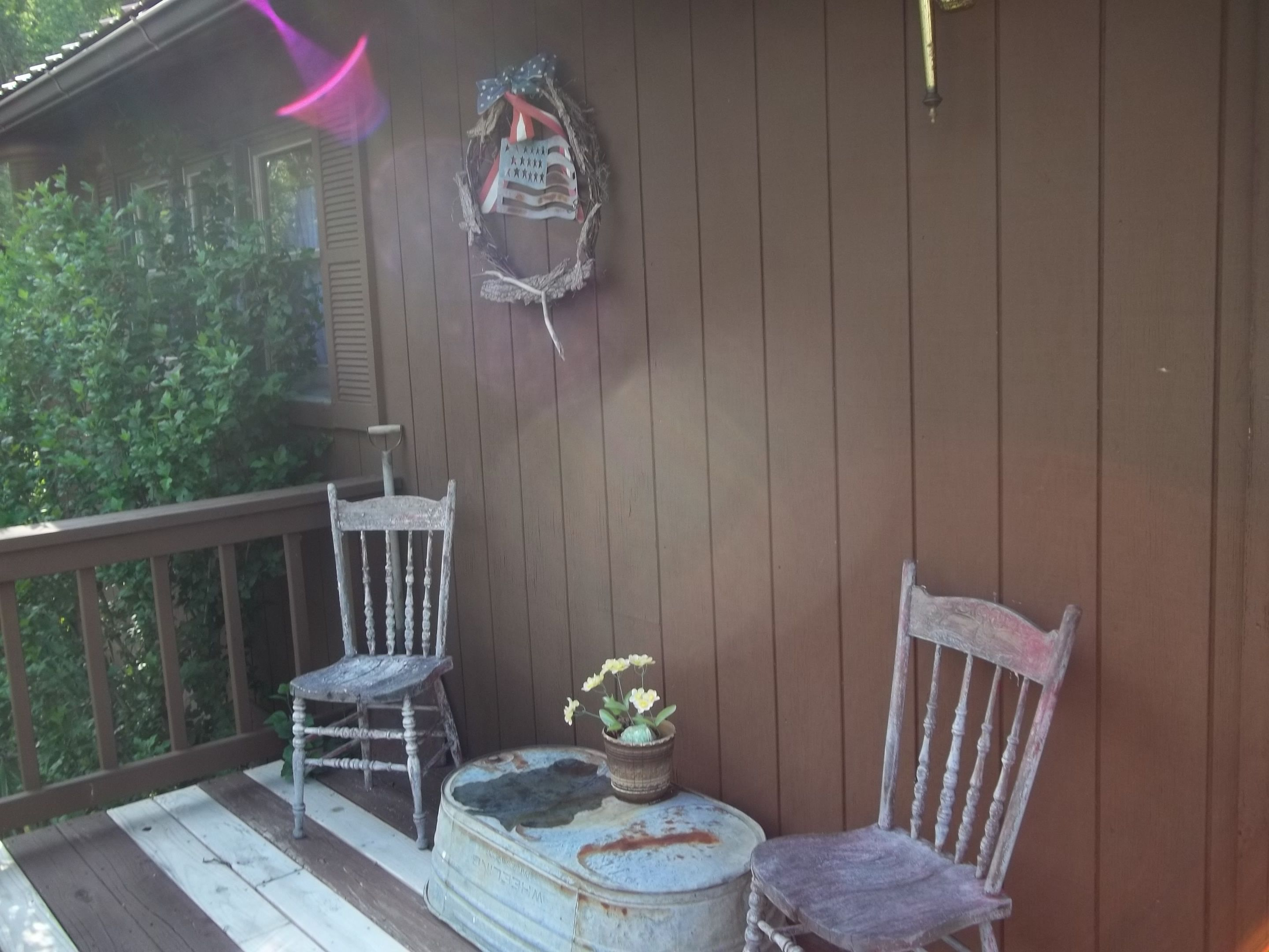 on my front deck have replaced some boards but not yet stained