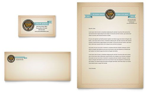 Tutoring School Business Card  Letterhead Template By
