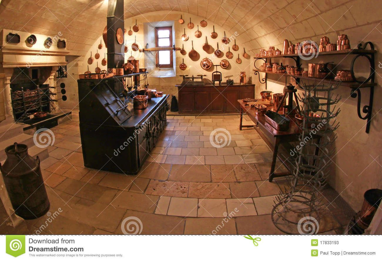 Interior of a medieval kitchen located at Chateau de Chenonceau in ...