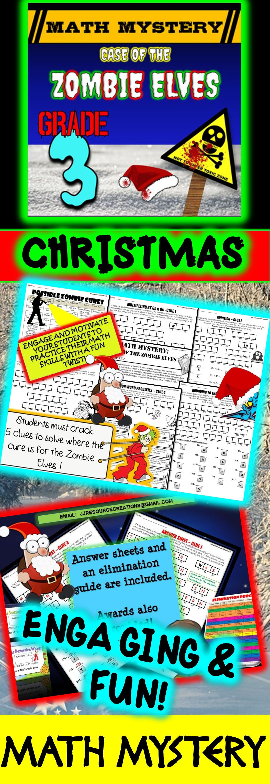 3rd Grade Fun Christmas Activity - Christmas Math Mystery : Zombie ...