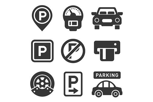 Car Parking Icons And Signs Set Car Parking Police Crime Car Icons