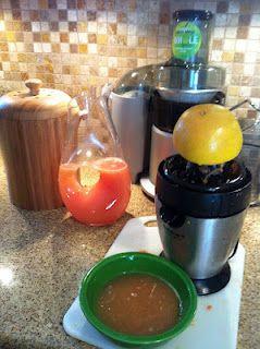 Fresh pressed grapefruit juice I just made : )