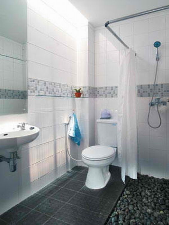 Bathroom With Rubber Duckies Murals And Toys: Cool Bathroom Floor With Activa Rubber Flooring And Stone