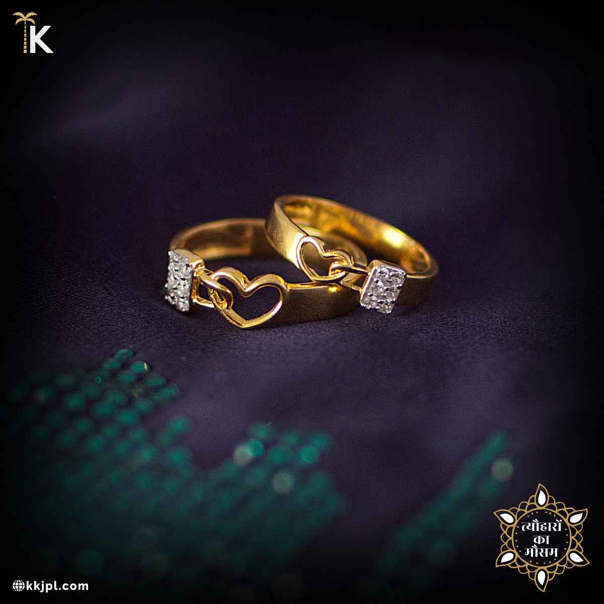 A Perfect Pair Of Bands Crafted With Love And Commitment Rush To Our Showroom For More Fascinating Couple Rings Gold Engagement Rings Couple Gold Finger Rings