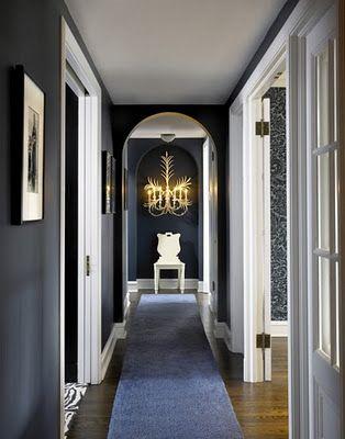 Dark Painted Hallway White Trim This Could Definitely Work Upstairs