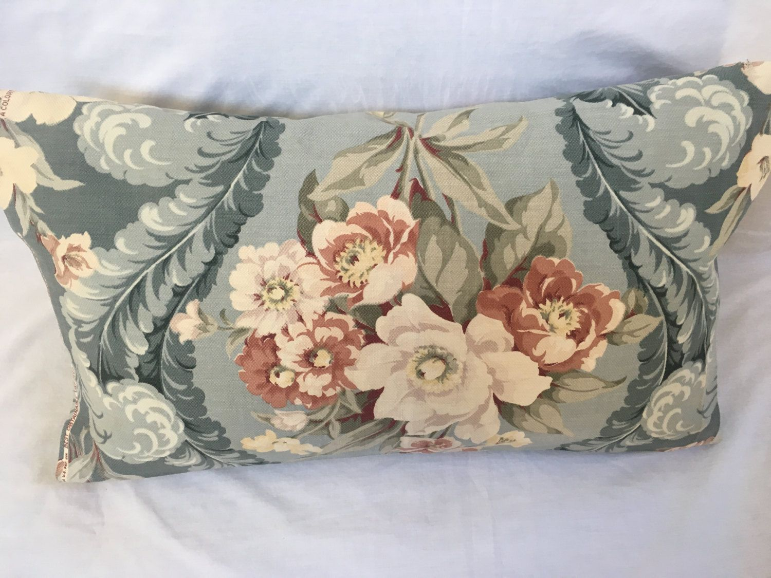 Repurposed barkcloth fabric pillow cover blue brown flowers throw