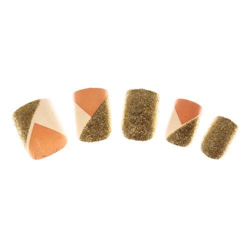 Lot de 24 faux ongles dorés pailletés