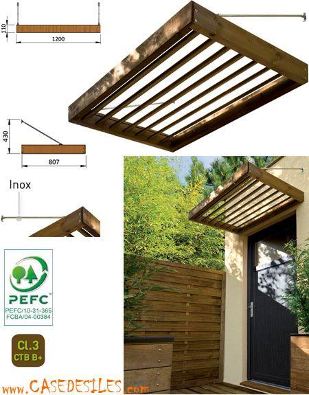 Auvent bois  auvent en bois Pergolas, Porch and Doors