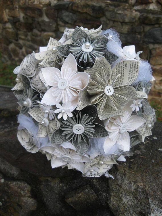 Bouquet de mariée-Taille papier vivace fleurs #paperflowerswedding