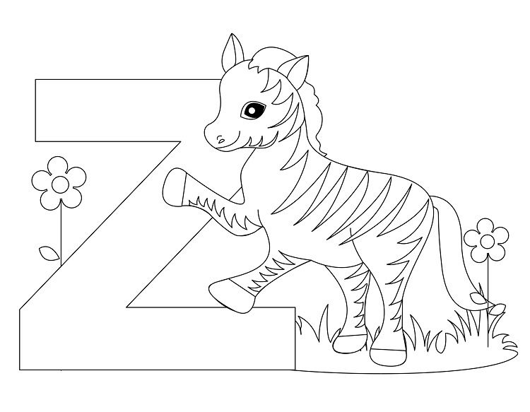 Alphabet Coloring Pages From Alligator To Zebra Zebra Coloring