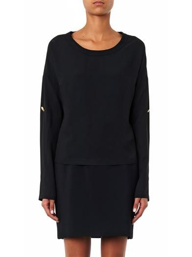 Anthony Vaccarello X Versus Versace Rolled-sleeve crepe top