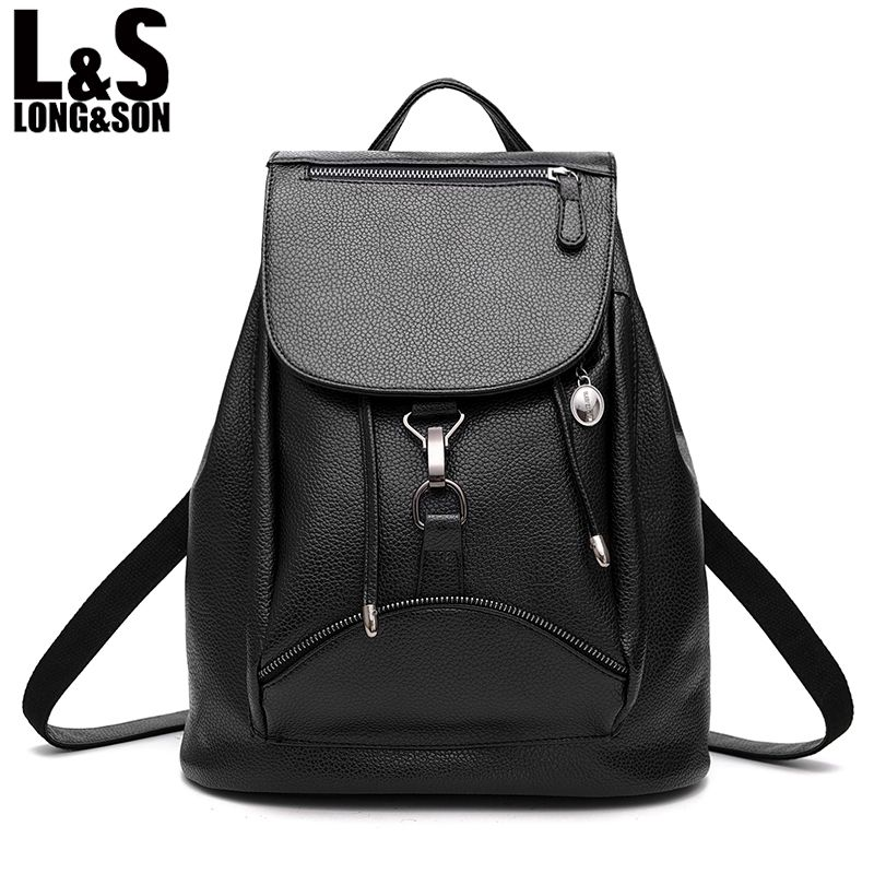 37f7f811801a LONG SON Fashion PU Leather Backpack Women Bags Preppy Style Backpack Girls  School Bags Zipper Shoulder Women s Back Pack WB075