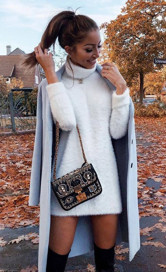 what to wear this winter : sweater dress bag blue coat over knee boots 10 Winter Outfits To Still Look Cute On Even The Coldest Days #sweaterdressoutfit