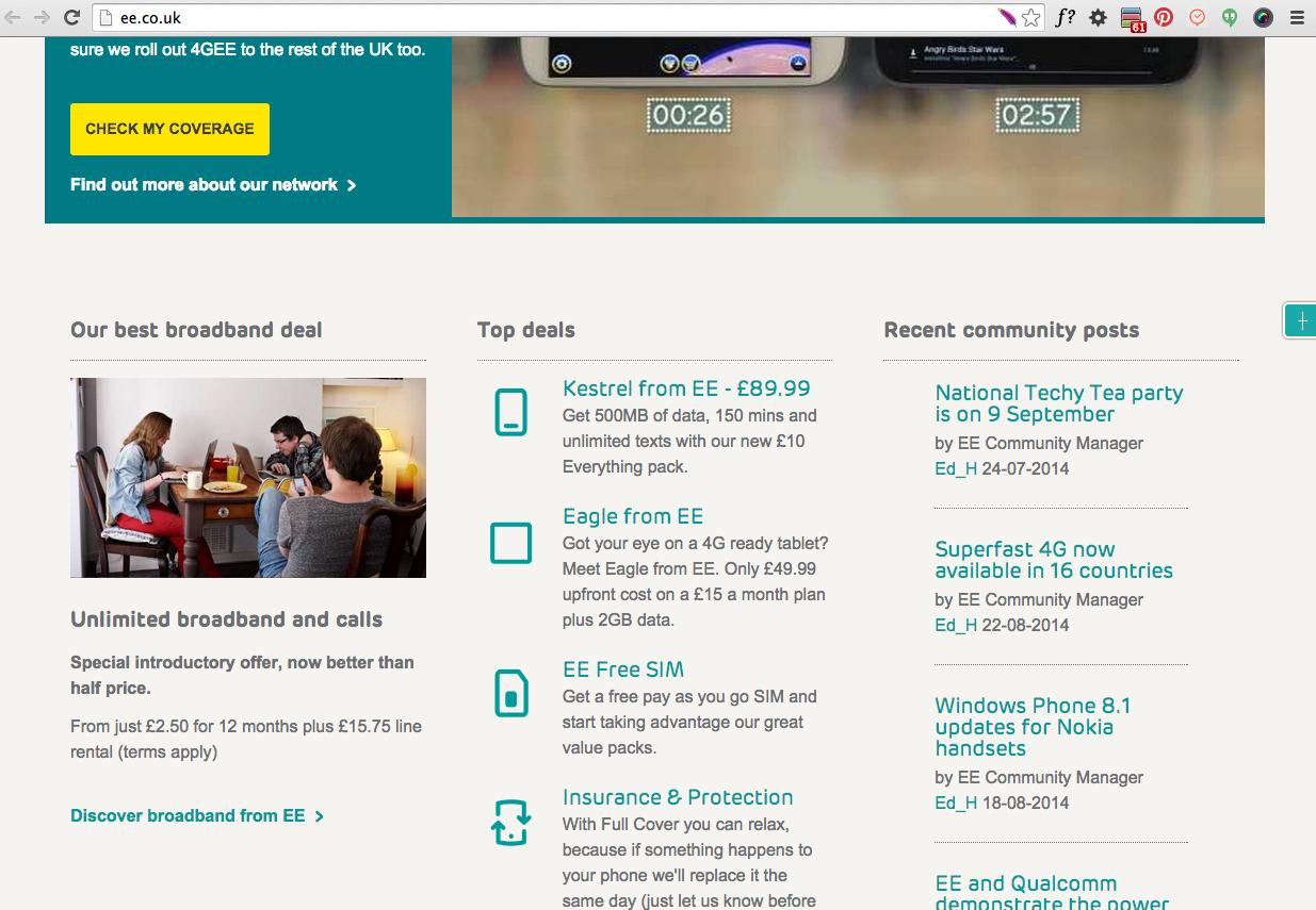 External Community Widget On The Everything Everywhere Homepage
