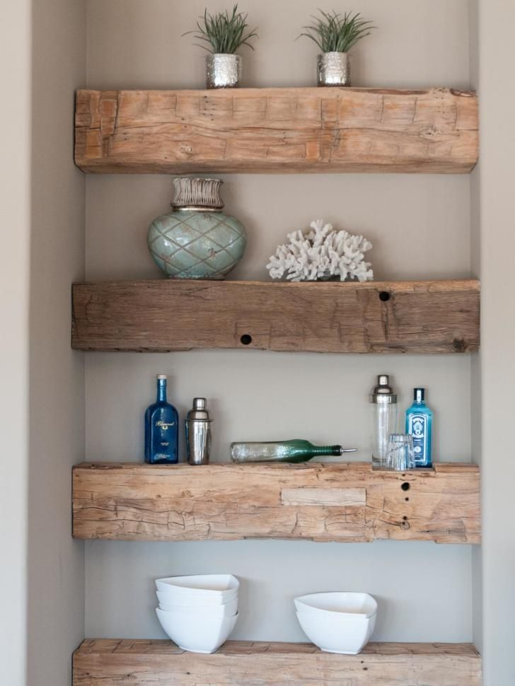Furniture Unvarnished Floating Shelves From Reclaimed Barn Wood In