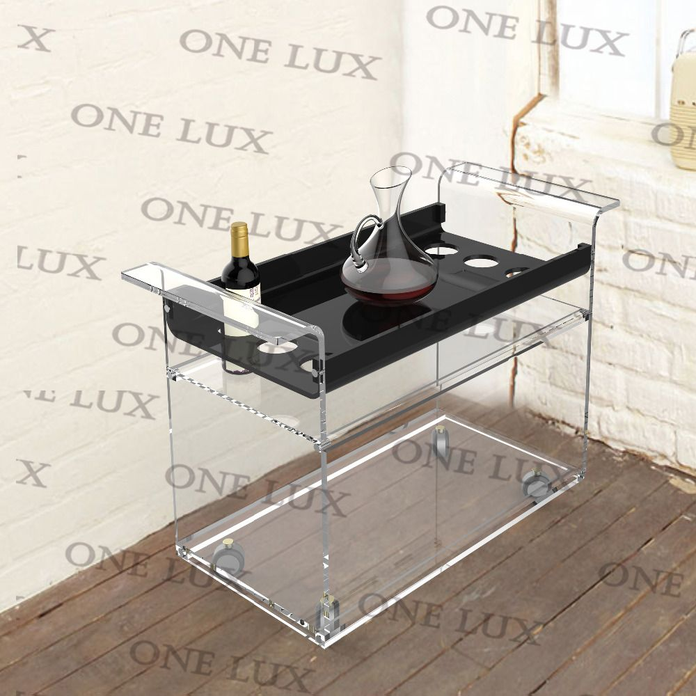 abd1cffe06a4 ONE LUX KD Packed Lucite Wine Bar Cart On Wheels,Acrylic Liquid ...