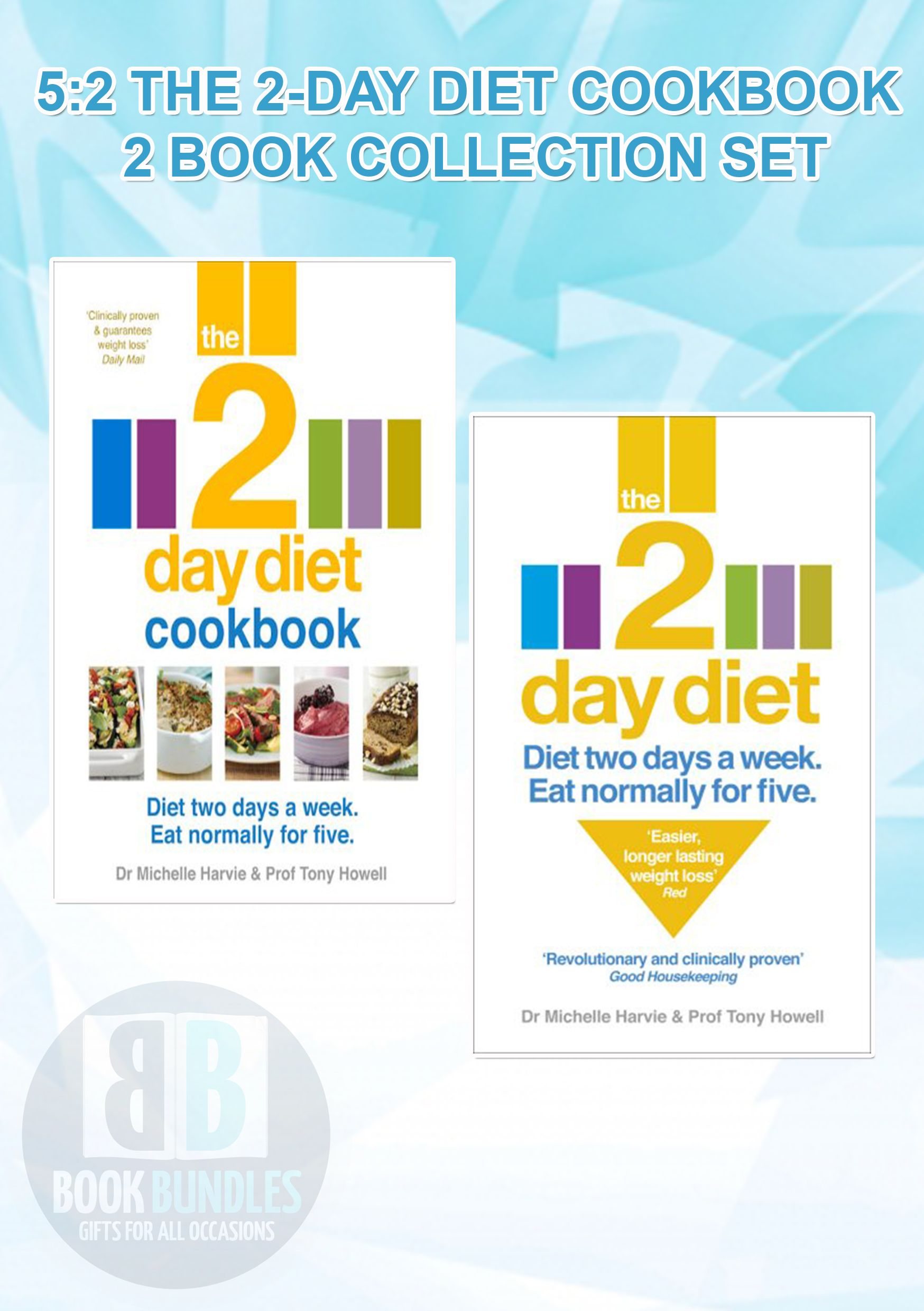 Dr. Michelle Harvie 5:2 The 2-Day Diet Cookbook 2 Book Collection Set. #MichelleHarvie #Diet #Cookbook #Dietbooks #BooksCollection