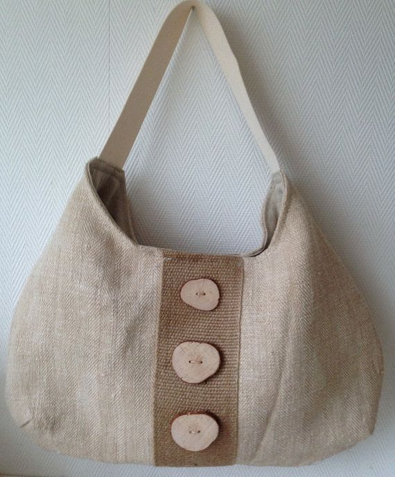 This is such a lovely summer bag! I made this bag from antique, sand colored, Hungarian linen.  The bag is decorated with burlap and BooneStaakjeS