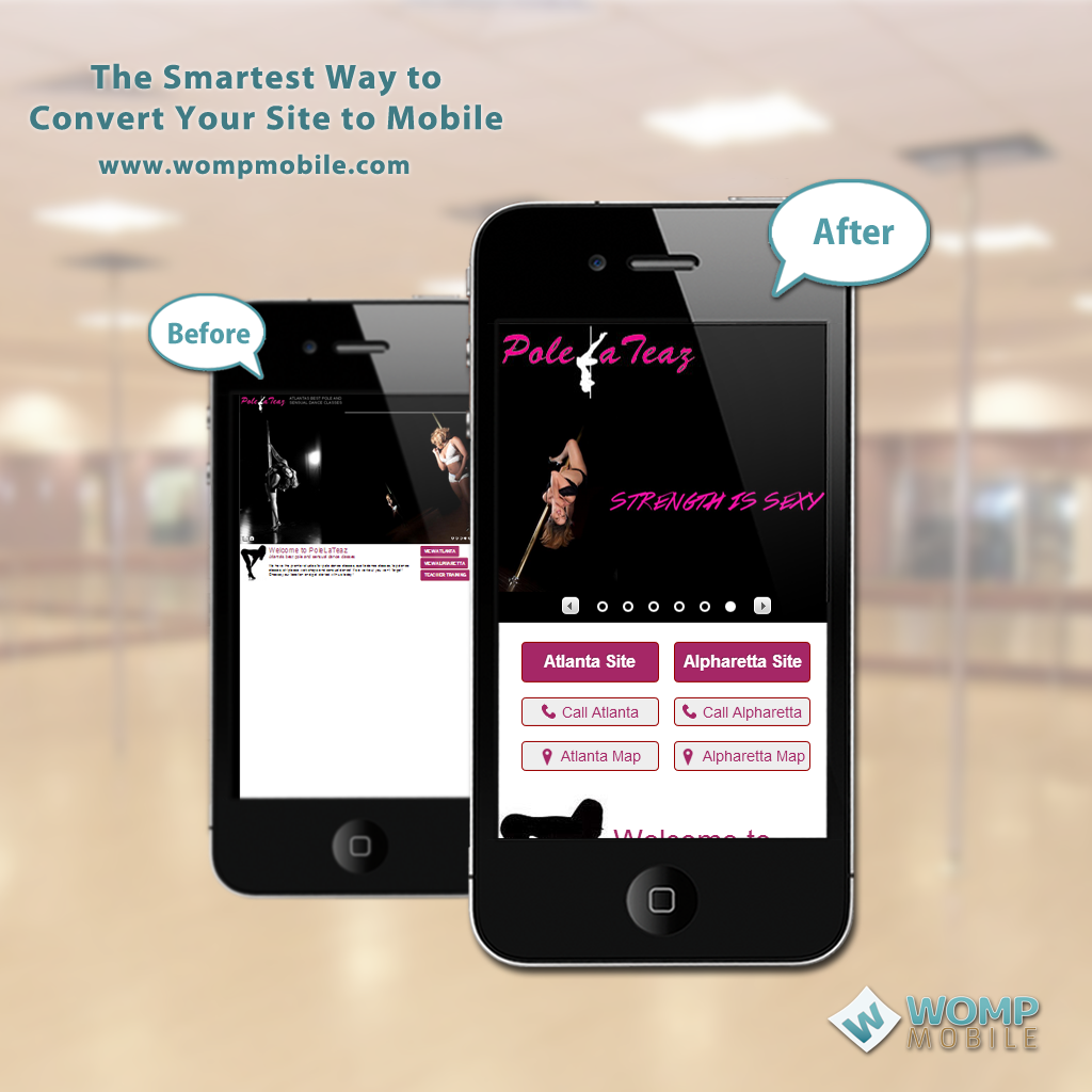 PoleLaTeaz, our mobile site of the week, is Atlanta's premier pole dance studio. PoleLaTeaz can help you find your inner goddess. Now their new mobile solution can help you find them!  http://www.wompmobile.com/blog/mobile-website-of-the-week-polelateaz/
