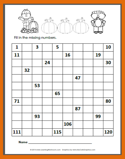 FREE Autumn 120 Number Chart to fill-in | October Teaching Ideas ...