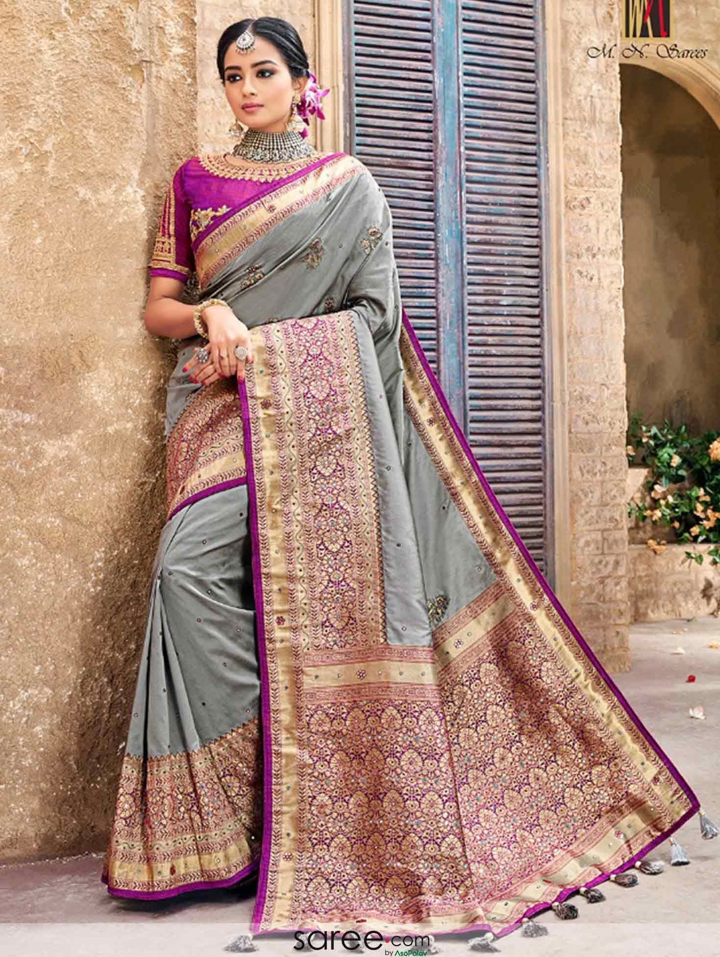 ad55182e6 Grey Banarasi Silk Saree with Double Blouse