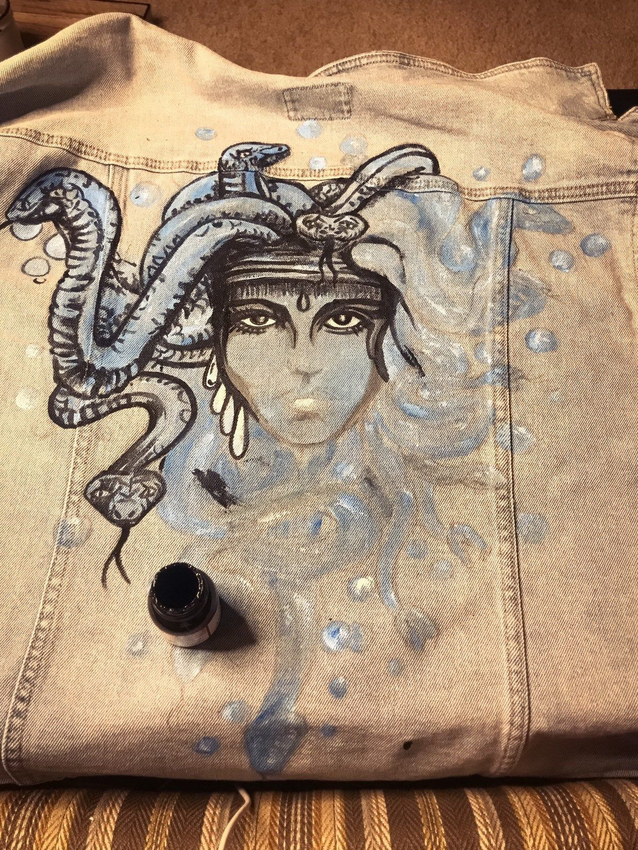 MEDUSA | Hand Painted Custom Denim Jean Jacket | Pearl-Beaded