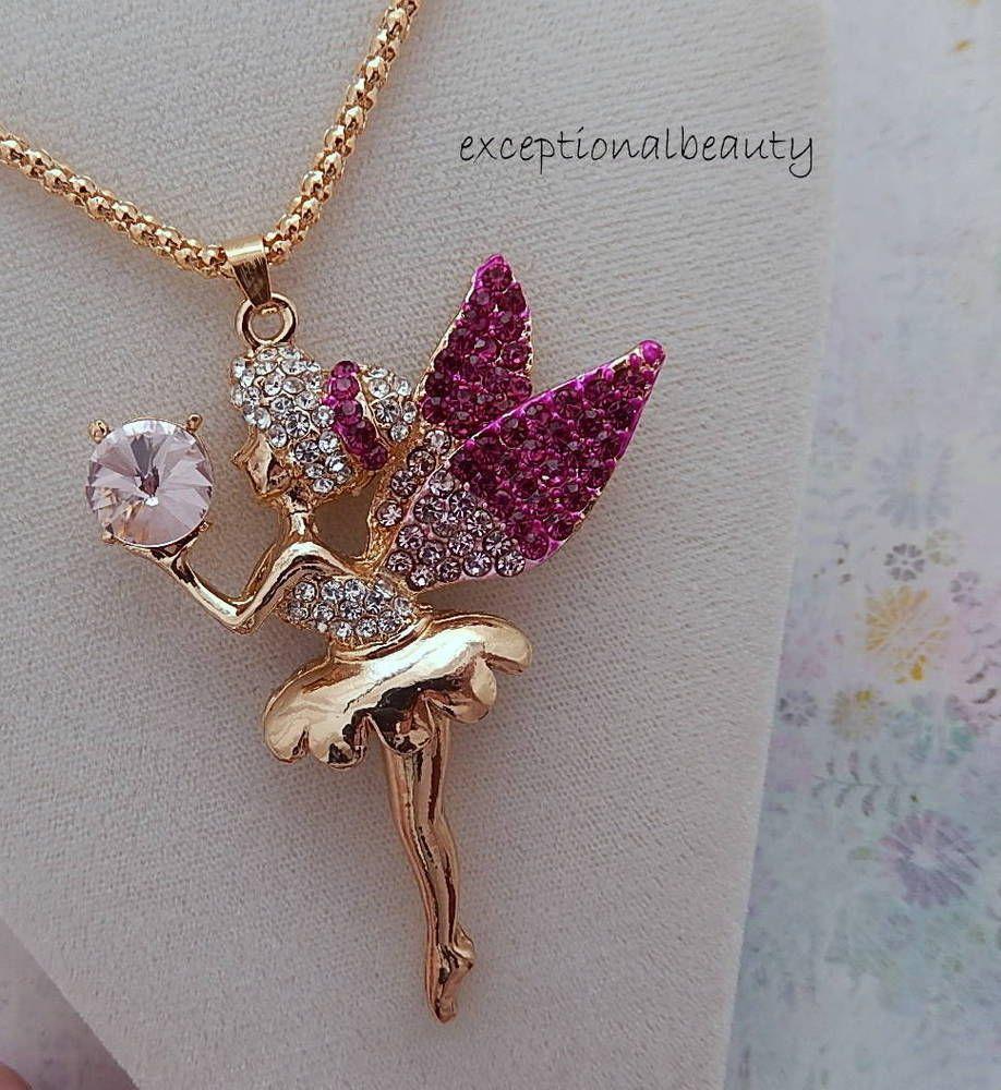 a8ec3014871 Gold Crystal Ball Rhinestone Fairy Ballerina Pendant Long 26 Inch Chain  Necklace #Unbranded #Pendantonlongsweaterchains