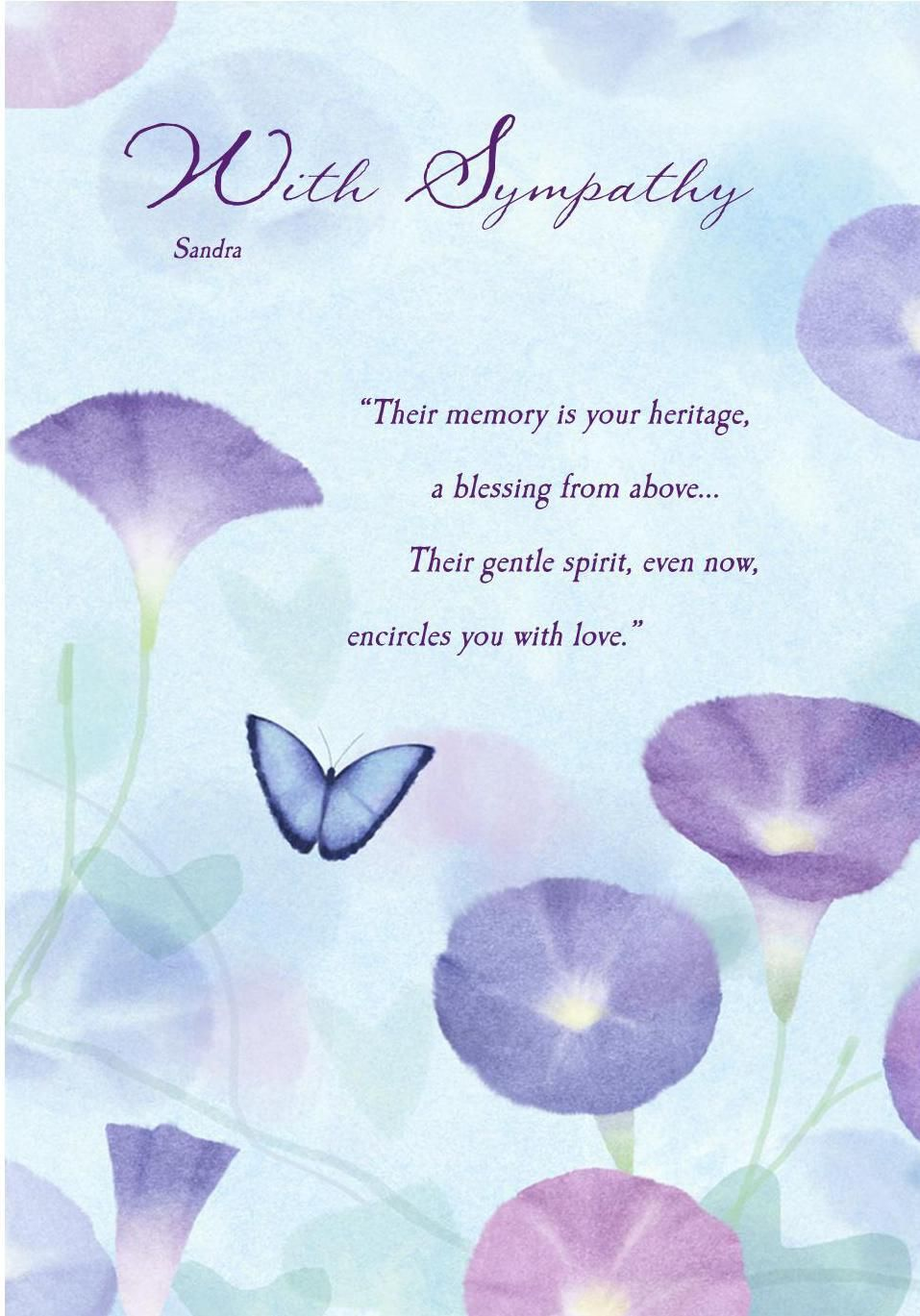 deepest sympathy messages sympathy card butterfly sympathy card any name verse inside reads - Deepest Sympathy Card