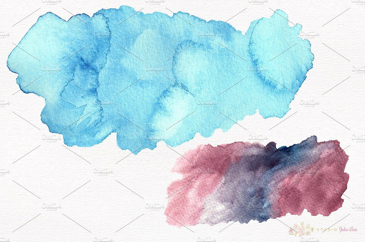 Watercolor Splotches Shapes Brushes Watercolor Original